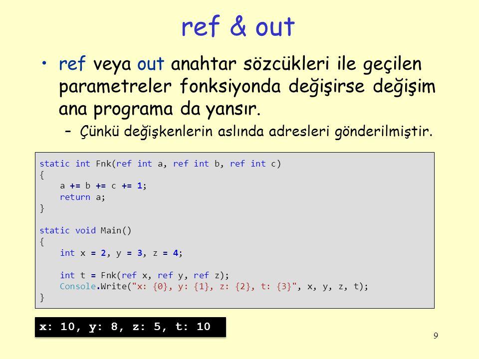 ref & out ref veya out anahtar sözcükleri ile geçilen parametreler fonksiyonda değişirse değişim ana programa da yansır. –Çünkü değişkenlerin aslında