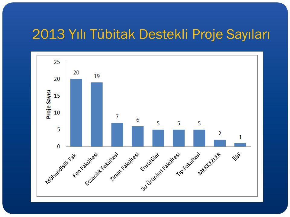 2013 Yılı Tübitak Destekli Proje Sayıları