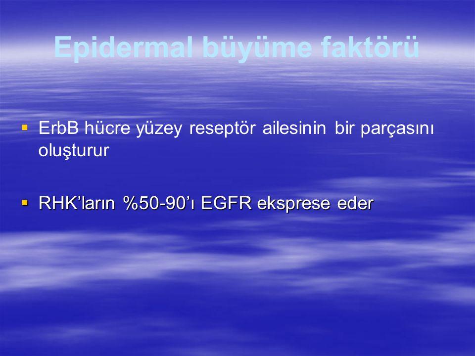 Epidermal büyüme faktörü   ErbB hücre yüzey reseptör ailesinin bir parçasını oluşturur  RHK'ların %50-90'ı EGFR eksprese eder