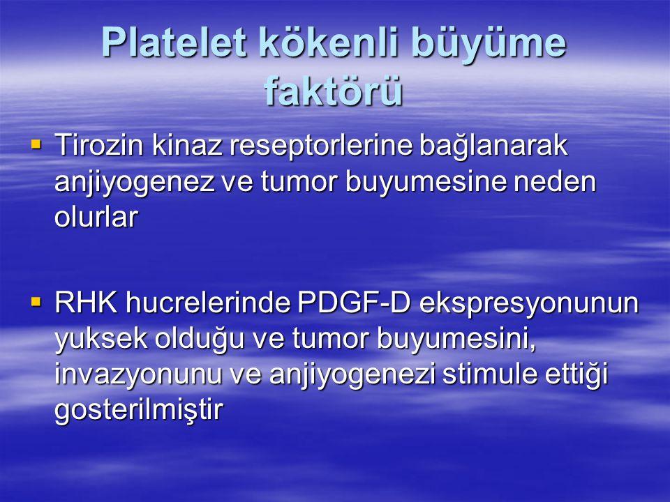 Platelet kökenli büyüme faktörü  Tirozin kinaz reseptorlerine bağlanarak anjiyogenez ve tumor buyumesine neden olurlar  RHK hucrelerinde PDGF-D ekspresyonunun yuksek olduğu ve tumor buyumesini, invazyonunu ve anjiyogenezi stimule ettiği gosterilmiştir