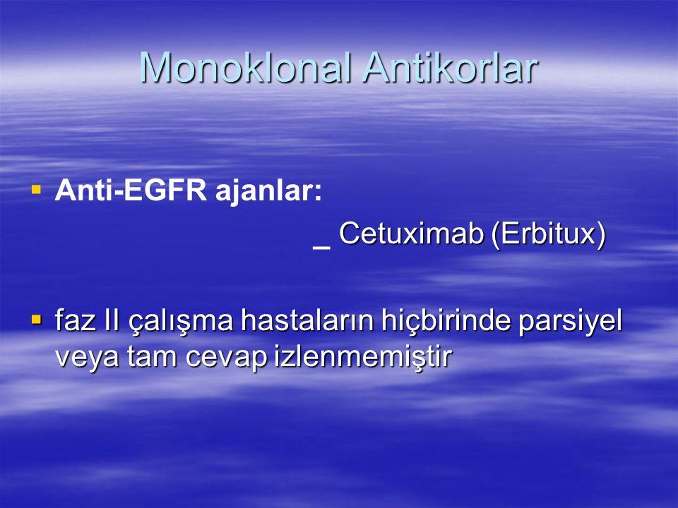 Monoklonal Antikorlar   Anti-EGFR ajanlar: Cetuximab (Erbitux) _ Cetuximab (Erbitux)  faz II çalışma hastaların hiçbirinde parsiyel veya tam cevap izlenmemiştir