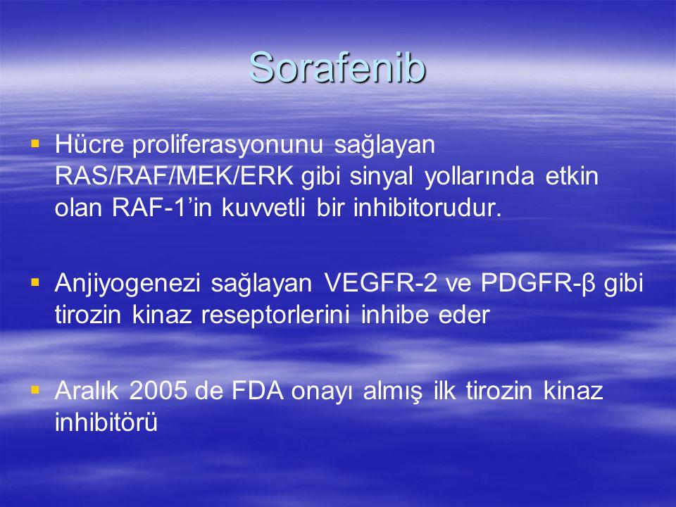 Sorafenib   Hücre proliferasyonunu sağlayan RAS/RAF/MEK/ERK gibi sinyal yollarında etkin olan RAF-1'in kuvvetli bir inhibitorudur.