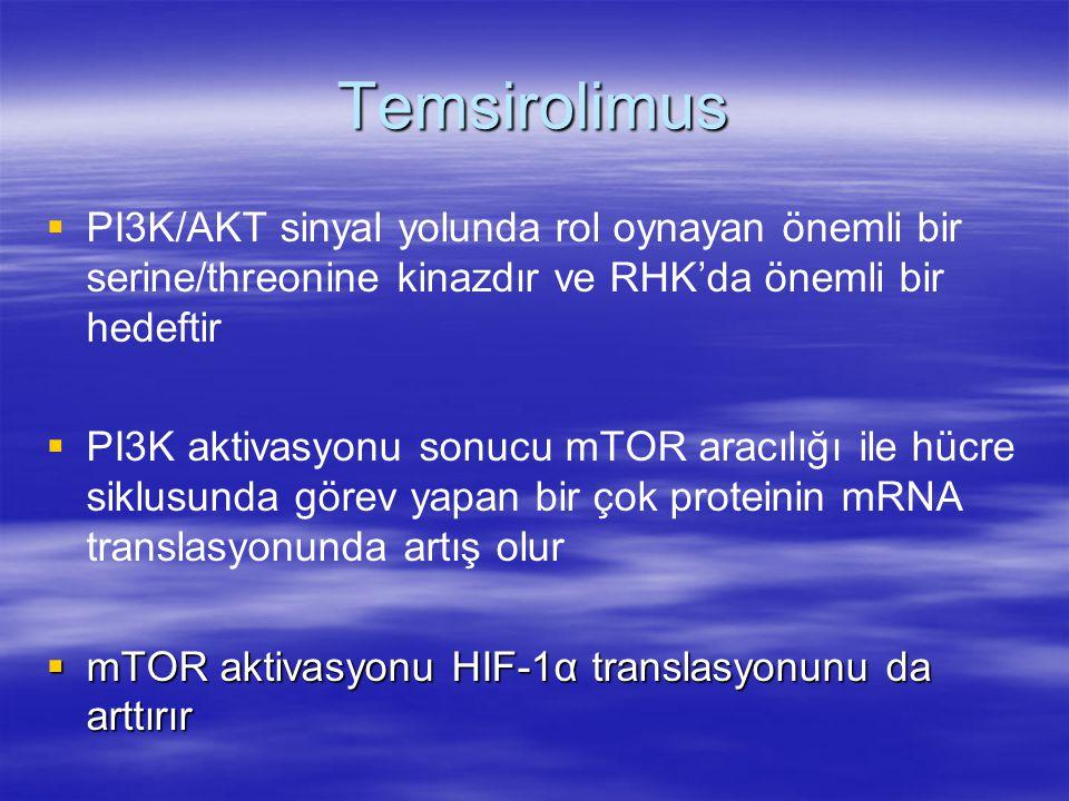 Temsirolimus   PI3K/AKT sinyal yolunda rol oynayan önemli bir serine/threonine kinazdır ve RHK'da önemli bir hedeftir   PI3K aktivasyonu sonucu mTOR aracılığı ile hücre siklusunda görev yapan bir çok proteinin mRNA translasyonunda artış olur  mTOR aktivasyonu HIF-1α translasyonunu da arttırır