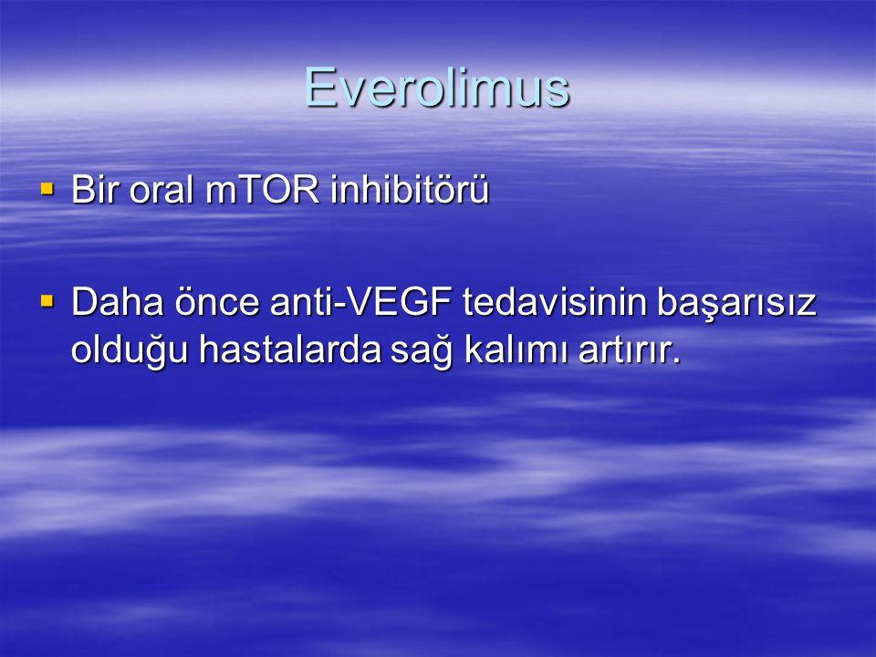 Everolimus  Bir oral mTOR inhibitörü  Daha önce anti-VEGF tedavisinin başarısız olduğu hastalarda sağ kalımı artırır.