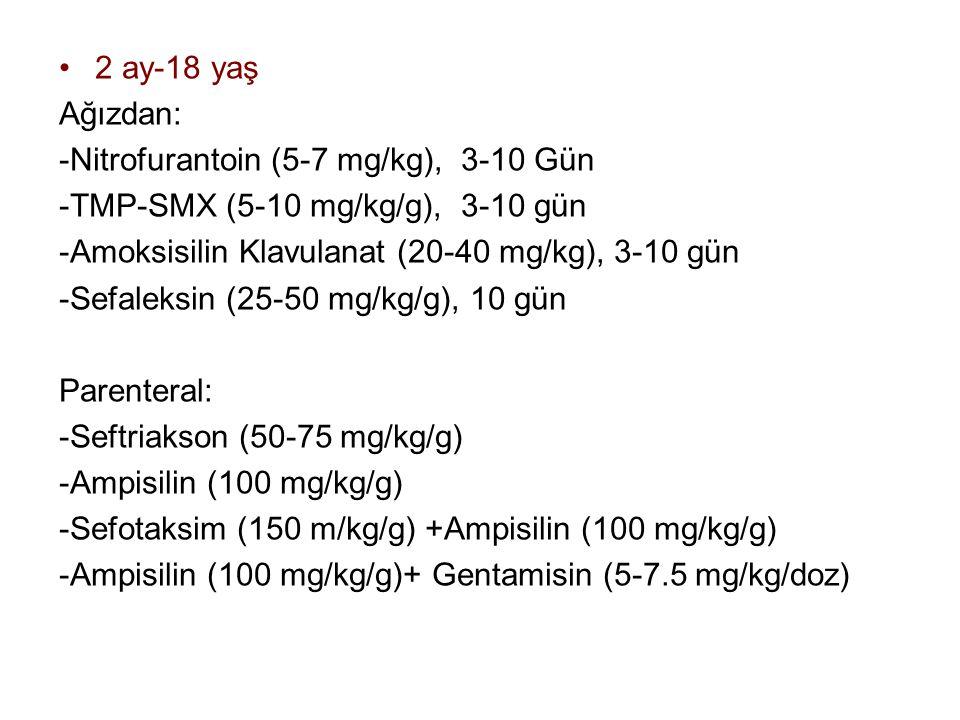 2 ay-18 yaş Ağızdan: -Nitrofurantoin (5-7 mg/kg), 3-10 Gün -TMP-SMX (5-10 mg/kg/g), 3-10 gün -Amoksisilin Klavulanat (20-40 mg/kg), 3-10 gün -Sefaleksin (25-50 mg/kg/g), 10 gün Parenteral: -Seftriakson (50-75 mg/kg/g) -Ampisilin (100 mg/kg/g) -Sefotaksim (150 m/kg/g) +Ampisilin (100 mg/kg/g) -Ampisilin (100 mg/kg/g)+ Gentamisin (5-7.5 mg/kg/doz)