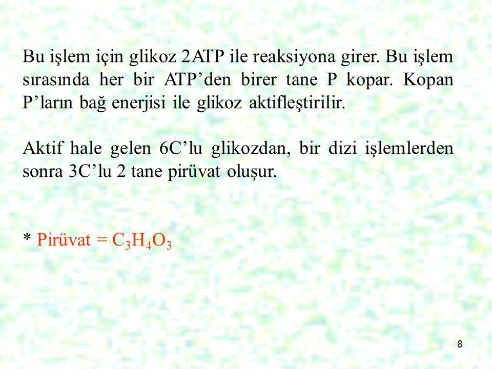 8 Bu işlem için glikoz 2ATP ile reaksiyona girer. Bu işlem sırasında her bir ATP'den birer tane P kopar. Kopan P'ların bağ enerjisi ile glikoz aktifle
