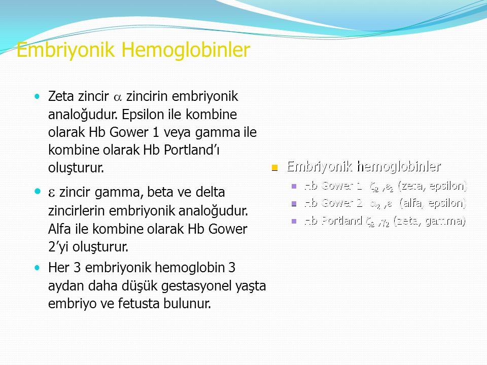 Embriyonik Hemoglobinler Zeta zincir  zincirin embriyonik analoğudur. Epsilon ile kombine olarak Hb Gower 1 veya gamma ile kombine olarak Hb Portland