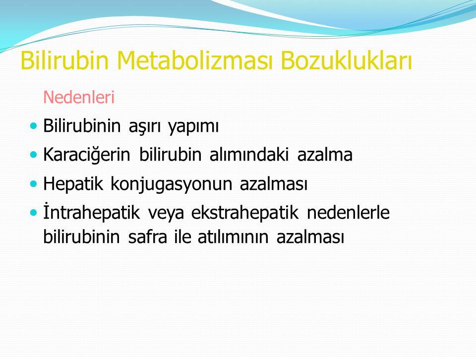 Bilirubin Metabolizması Bozuklukları Nedenleri Bilirubinin aşırı yapımı Karaciğerin bilirubin alımındaki azalma Hepatik konjugasyonun azalması İntrahe