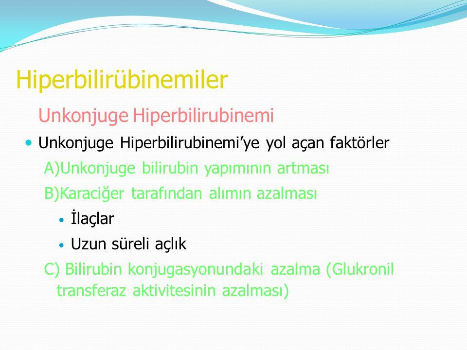 Hiperbilirübinemiler Unkonjuge Hiperbilirubinemi Unkonjuge Hiperbilirubinemi'ye yol açan faktörler A)Unkonjuge bilirubin yapımının artması B)Karaciğer