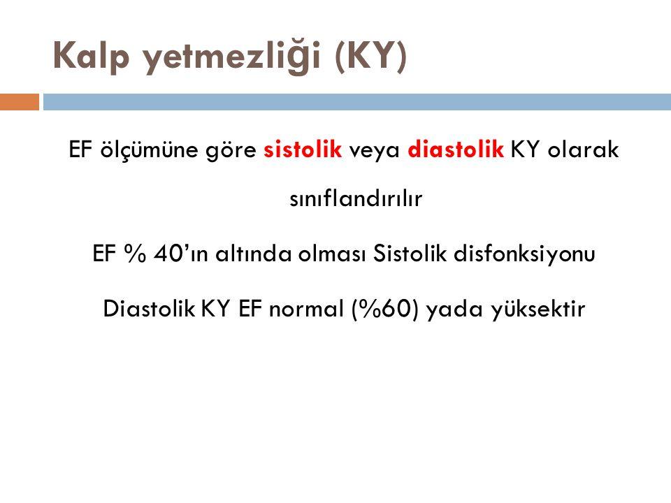Kalp yetmezli ğ i (KY) EF ölçümüne göre sistolik veya diastolik KY olarak sınıflandırılır EF % 40'ın altında olması Sistolik disfonksiyonu Diastolik K