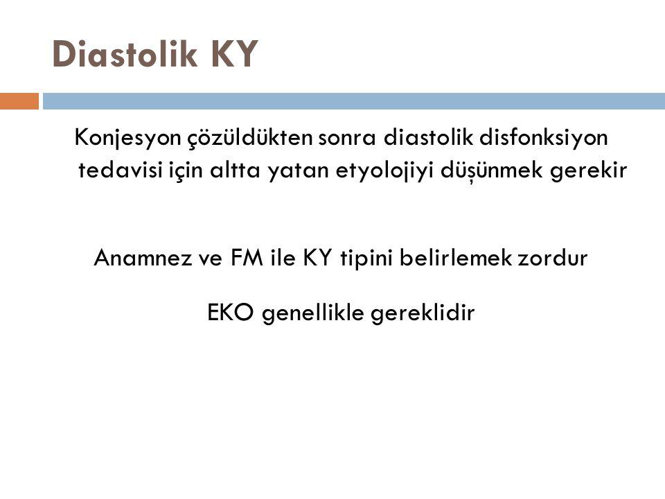 Diastolik KY Konjesyon çözüldükten sonra diastolik disfonksiyon tedavisi için altta yatan etyolojiyi düşünmek gerekir Anamnez ve FM ile KY tipini beli