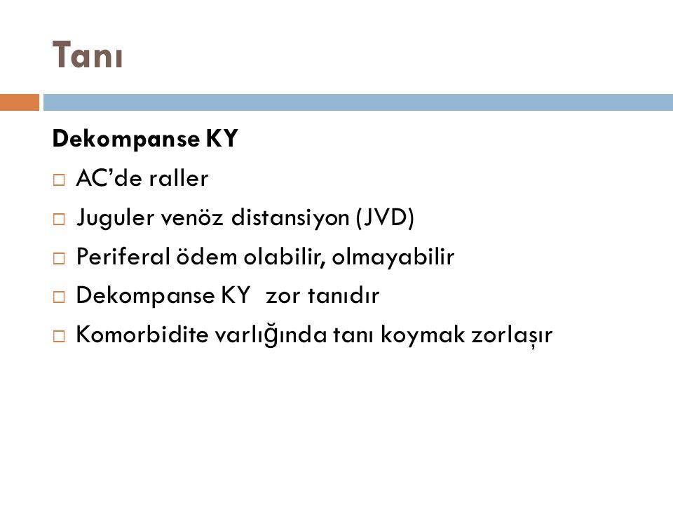 Tanı Dekompanse KY  AC'de raller  Juguler venöz distansiyon (JVD)  Periferal ödem olabilir, olmayabilir  Dekompanse KY zor tanıdır  Komorbidite v
