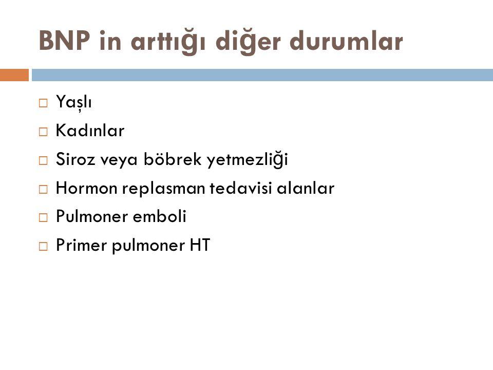 BNP in arttı ğ ı di ğ er durumlar  Yaşlı  Kadınlar  Siroz veya böbrek yetmezli ğ i  Hormon replasman tedavisi alanlar  Pulmoner emboli  Primer p