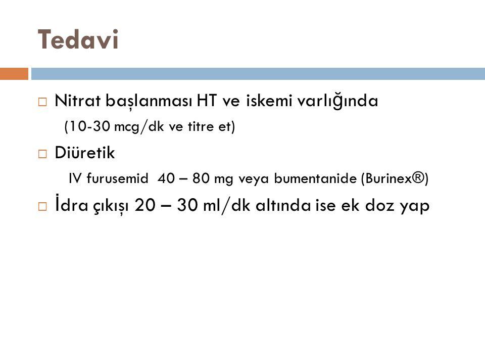 Tedavi  Nitrat başlanması HT ve iskemi varlı ğ ında (10-30 mcg/dk ve titre et)  Diüretik IV furusemid 40 – 80 mg veya bumentanide (Burinex®)  İ dra