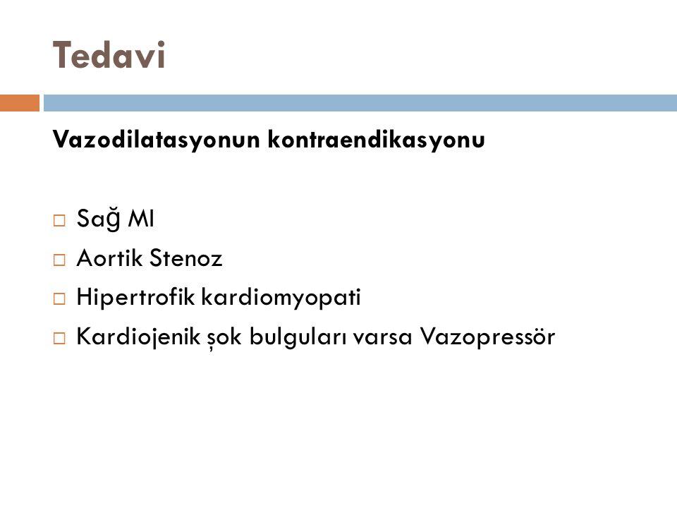 Tedavi Vazodilatasyonun kontraendikasyonu  Sa ğ MI  Aortik Stenoz  Hipertrofik kardiomyopati  Kardiojenik şok bulguları varsa Vazopressör