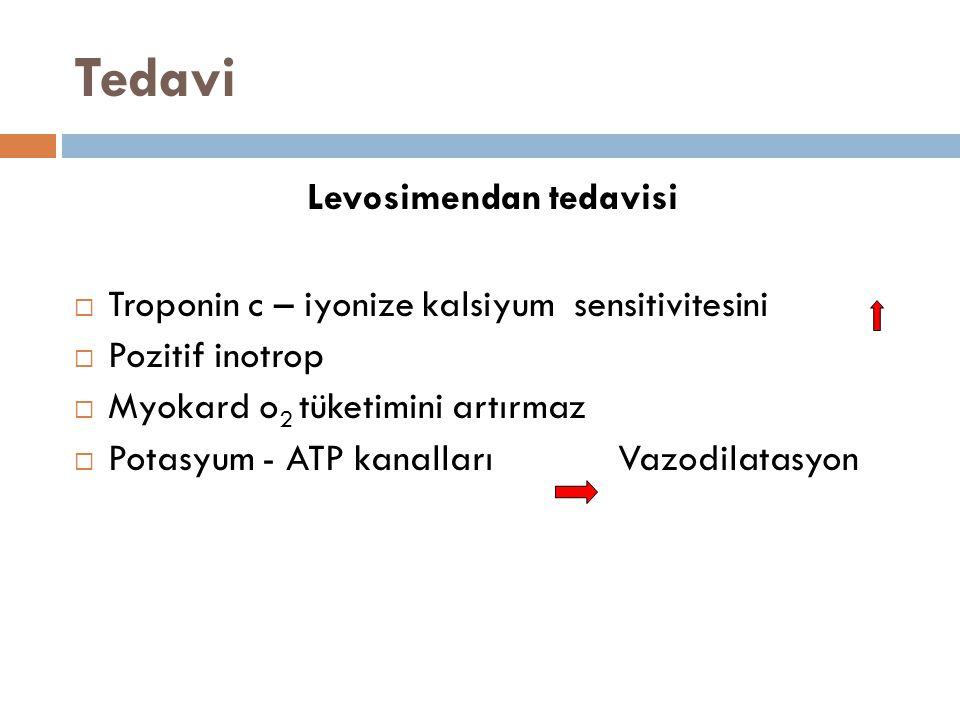 Tedavi Levosimendan tedavisi  Troponin c – iyonize kalsiyum sensitivitesini  Pozitif inotrop  Myokard o 2 tüketimini artırmaz  Potasyum - ATP kana