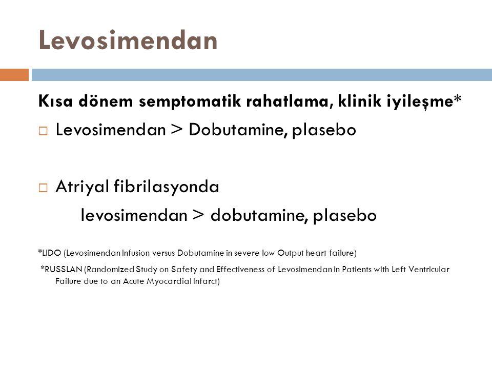 Levosimendan Kısa dönem semptomatik rahatlama, klinik iyileşme*  Levosimendan > Dobutamine, plasebo  Atriyal fibrilasyonda levosimendan > dobutamine