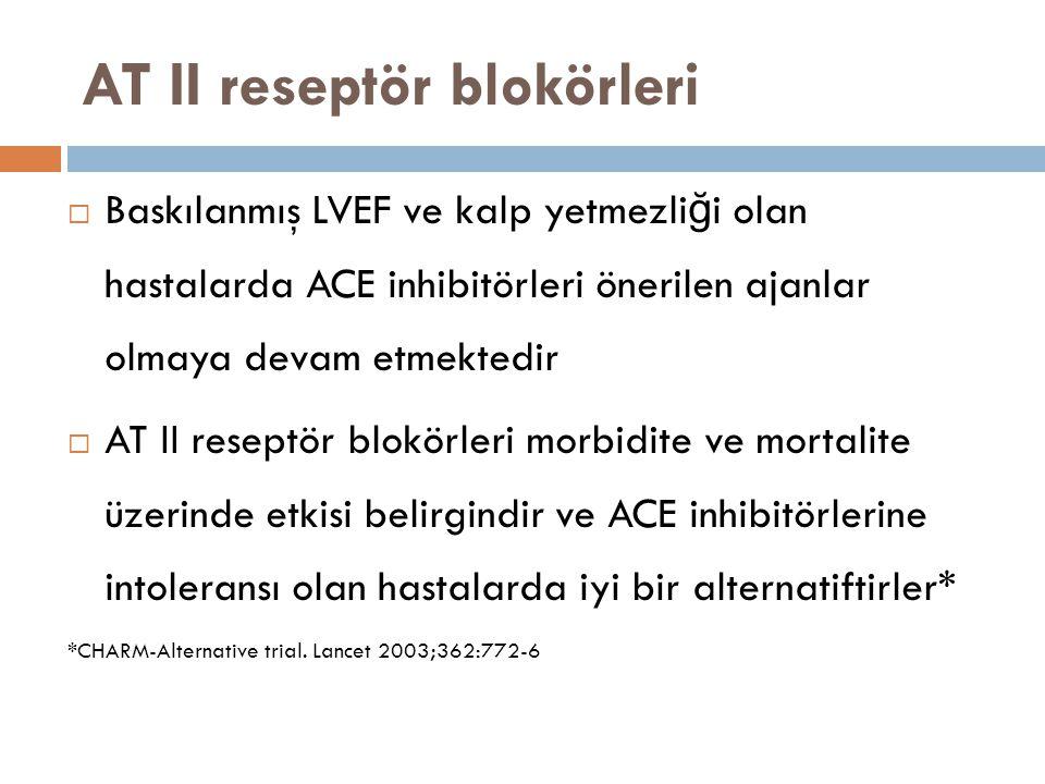AT II reseptör blokörleri  Baskılanmış LVEF ve kalp yetmezli ğ i olan hastalarda ACE inhibitörleri önerilen ajanlar olmaya devam etmektedir  AT II r