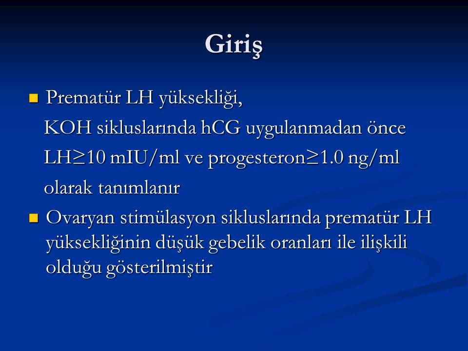 Giriş Prematür LH yüksekliği, Prematür LH yüksekliği, KOH sikluslarında hCG uygulanmadan önce KOH sikluslarında hCG uygulanmadan önce LH≥10 mIU/ml ve