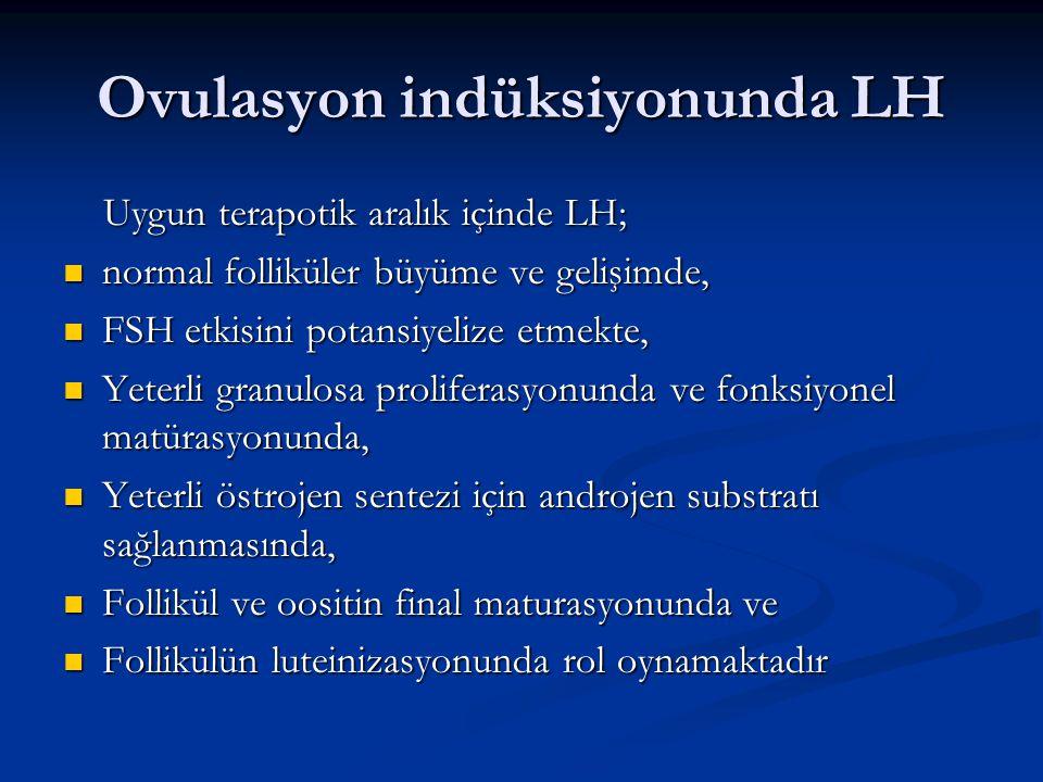 Ovulasyon indüksiyonunda LH Uygun terapotik aralık içinde LH; Uygun terapotik aralık içinde LH; normal folliküler büyüme ve gelişimde, normal follikül