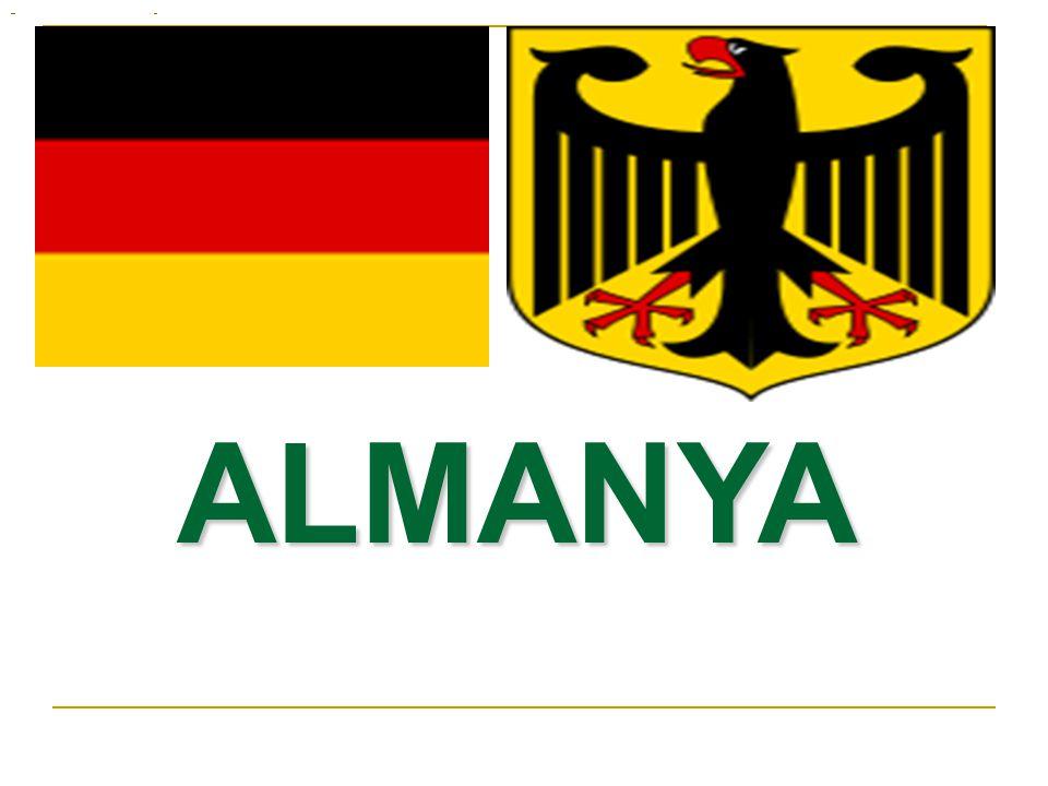 ALMANYA Tam Adı: Federal Almanya Cumhuriyeti Yüzölçümü: 357 021 km² Başkenti: Berlin Para Birimi: Euro Dili: Almanca Nüfusu: 82,400,996 kişi (2007 tahmini) Ortalama Yaş: 43 yıl (2007 tahmini) Okur Yazarlık Oranı: % 99 (2003 tahmini) Kişi Başına Düşen Milli Gelir: 31,400 $ (2006 tahmini) Yönetim Şekli:Federal Cumhuriyet Kurtuluş Günü: 18 Ocak 1871 (Alman Birliği)