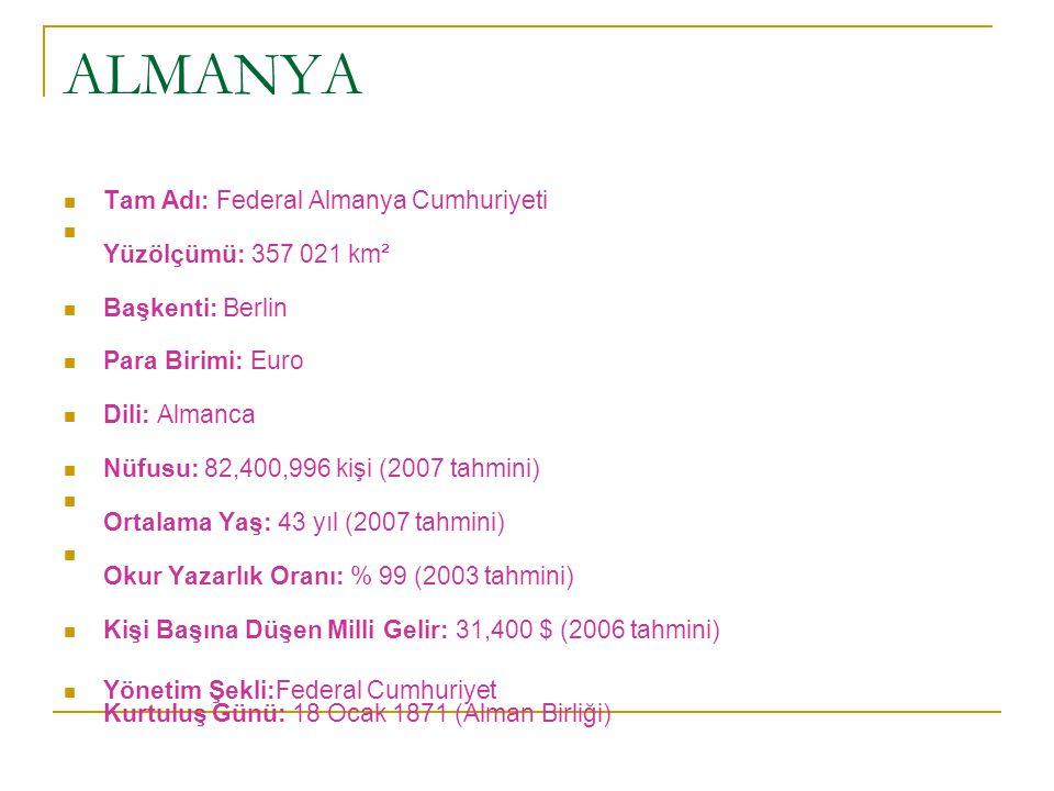 ALMANYA Tam Adı: Federal Almanya Cumhuriyeti Yüzölçümü: 357 021 km² Başkenti: Berlin Para Birimi: Euro Dili: Almanca Nüfusu: 82,400,996 kişi (2007 tah