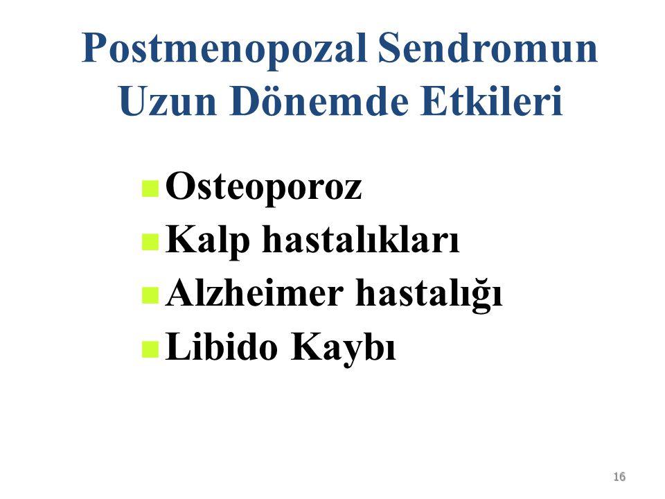 16 Postmenopozal Sendromun Uzun Dönemde Etkileri Osteoporoz Kalp hastalıkları Alzheimer hastalığı Libido Kaybı