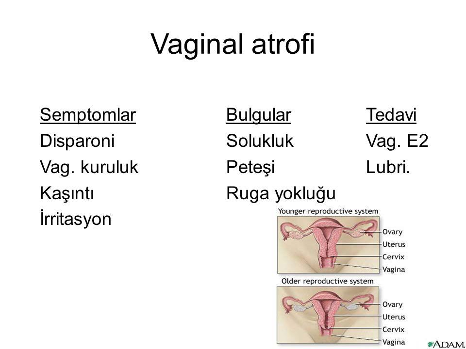 Vaginal atrofi SemptomlarBulgularTedavi DisparoniSolukluk Vag.