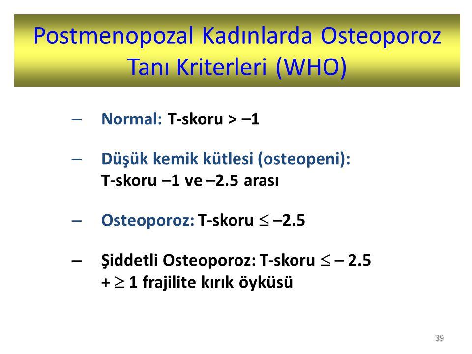 Postmenopozal Kadınlarda Osteoporoz Tanı Kriterleri (WHO) – Normal: T-skoru > –1 – Düşük kemik kütlesi (osteopeni): T-skoru –1 ve –2.5 arası – Osteoporoz: T-skoru  –2.5 – Şiddetli Osteoporoz: T-skoru  – 2.5 +  1 frajilite kırık öyküsü 39