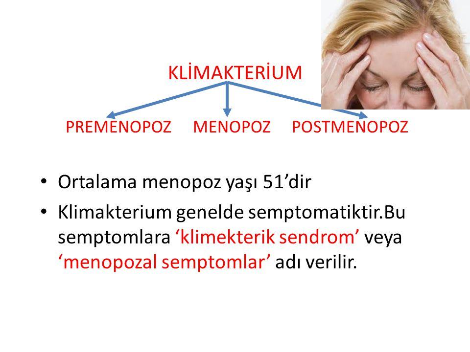 KLİMAKTERİUM PREMENOPOZ MENOPOZ POSTMENOPOZ Ortalama menopoz yaşı 51'dir Klimakterium genelde semptomatiktir.Bu semptomlara 'klimekterik sendrom' veya 'menopozal semptomlar' adı verilir.