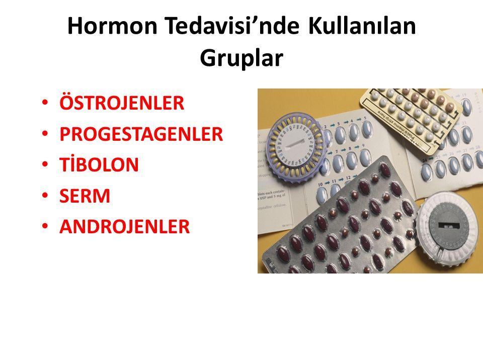 Hormon Tedavisi'nde Kullanılan Gruplar ÖSTROJENLER PROGESTAGENLER TİBOLON SERM ANDROJENLER
