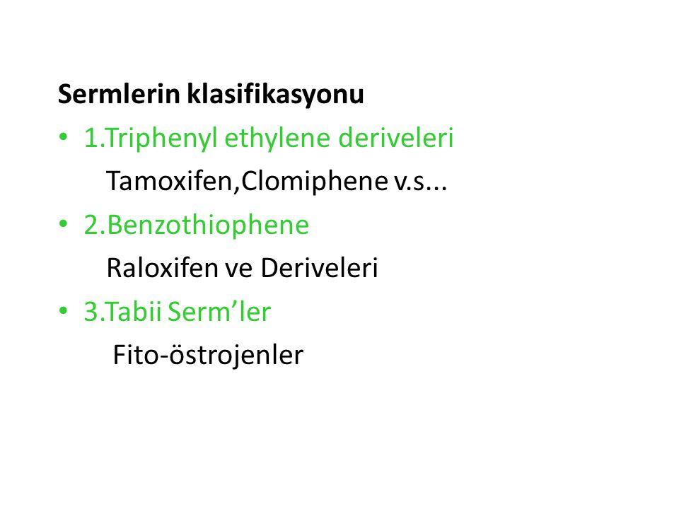 Sermlerin klasifikasyonu 1.Triphenyl ethylene deriveleri Tamoxifen,Clomiphene v.s...