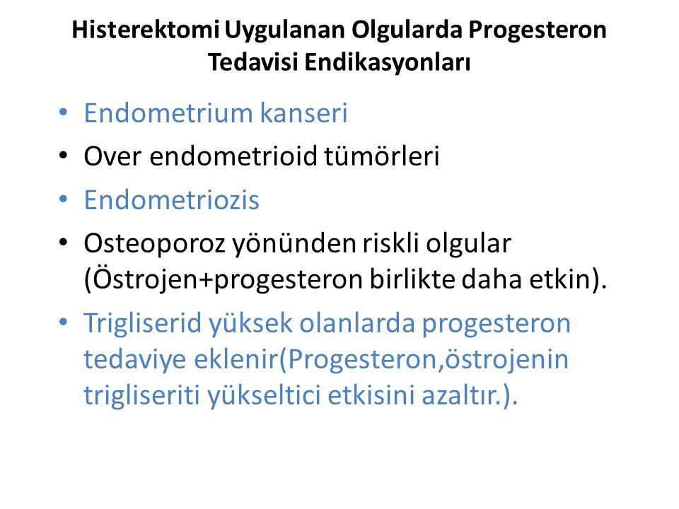 Histerektomi Uygulanan Olgularda Progesteron Tedavisi Endikasyonları Endometrium kanseri Over endometrioid tümörleri Endometriozis Osteoporoz yönünden riskli olgular (Östrojen+progesteron birlikte daha etkin).