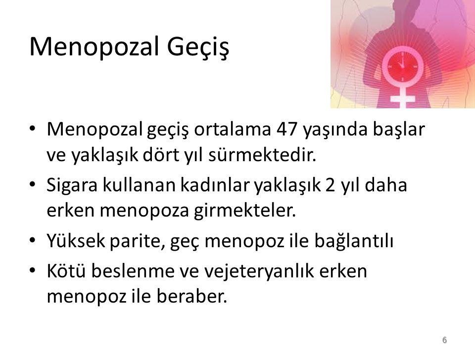 MENOPOZ YAŞI Ortalama menopoz yaşı 51'dir.44-59 yaşları arasında değişir.