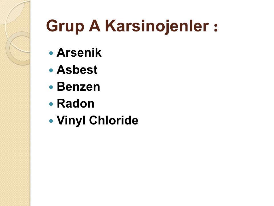 : Grup A Karsinojenler : Arsenik Asbest Benzen Radon Vinyl Chloride
