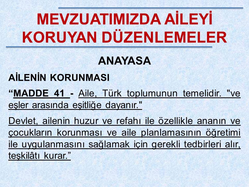 """MEVZUATIMIZDA AİLEYİ KORUYAN DÜZENLEMELER ANAYASA AİLENİN KORUNMASI """"MADDE 41 - Aile, Türk toplumunun temelidir."""