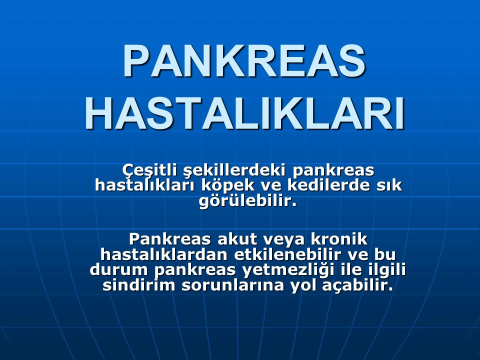 PANKREAS HASTALIKLARI Çeşitli şekillerdeki pankreas hastalıkları köpek ve kedilerde sık görülebilir.