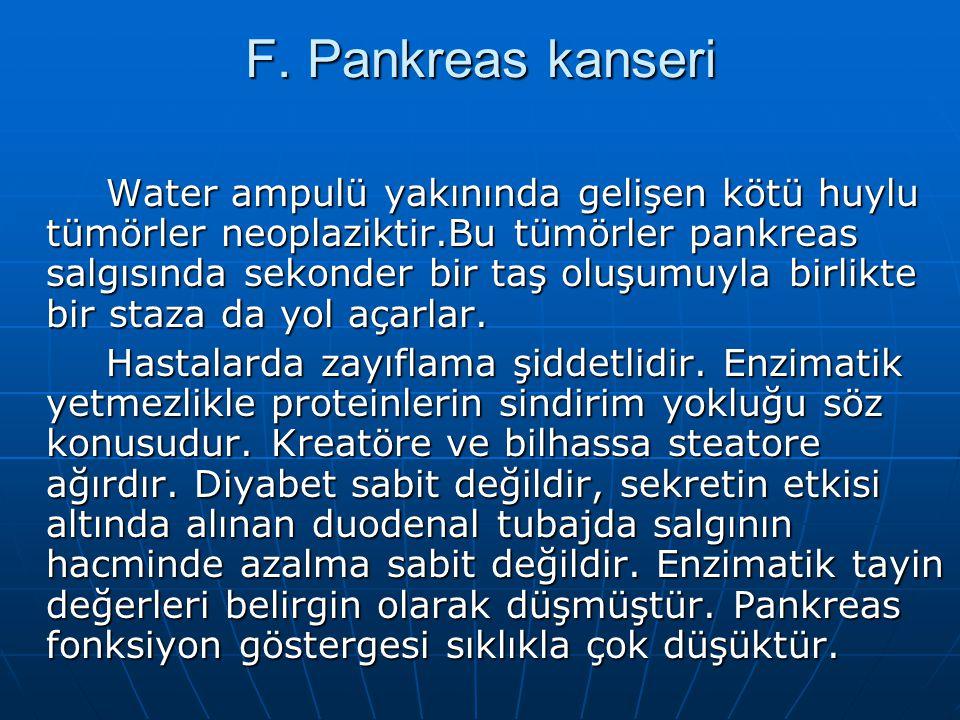 F. Pankreas kanseri Water ampulü yakınında gelişen kötü huylu tümörler neoplaziktir.Bu tümörler pankreas salgısında sekonder bir taş oluşumuyla birlik
