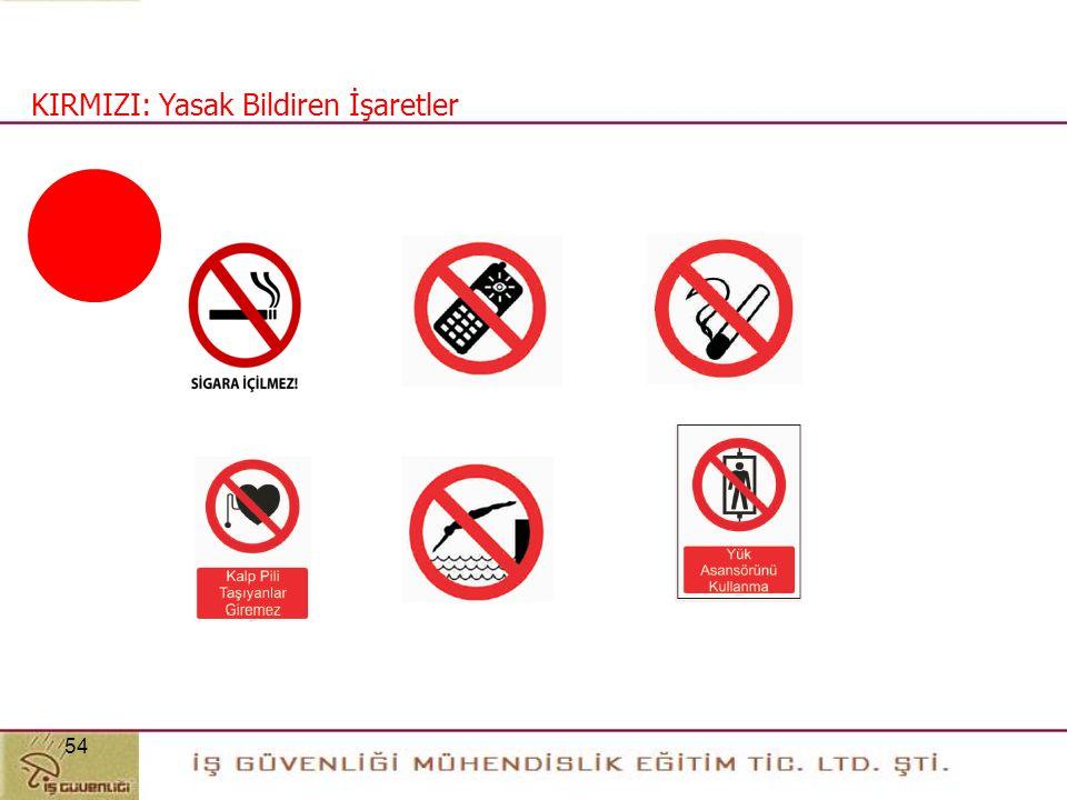 """53 Yasak Bildiren İşarettir Örnek """"Sigara İçmek Yasaktır"""" Güvenlik Bilgisi (İkaz) veren İşaretlerdir Örneğin, Acil Durum Kapısı Zorunluluk Bildiren İş"""