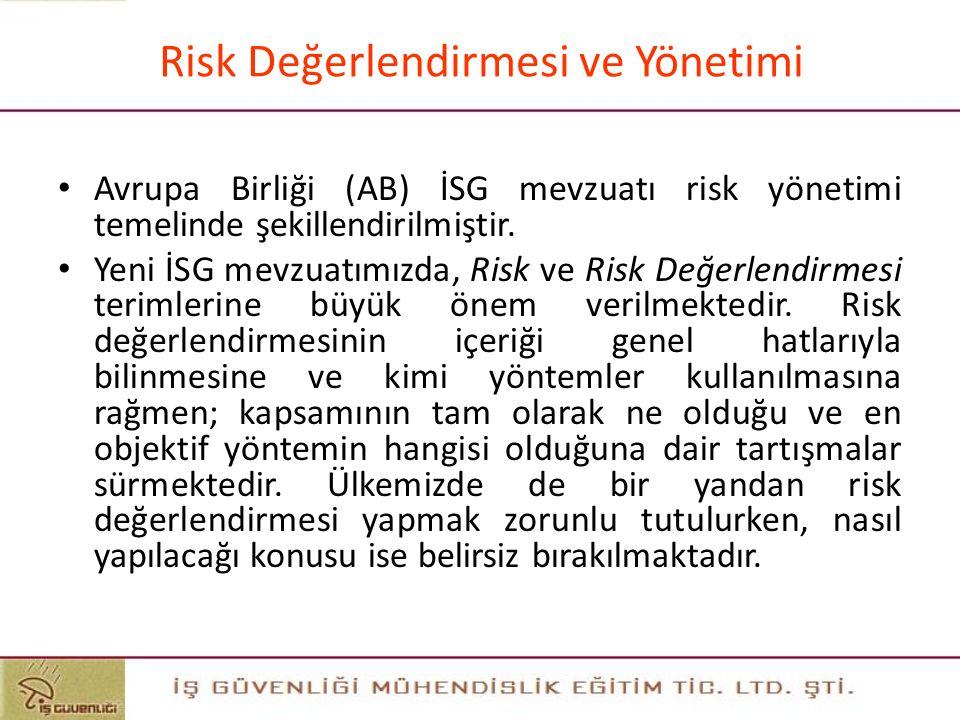 """Risk Değerlendirmesi ve Yönetimi Risk değerlendirmesi; """"işyerlerinde var olan tehlikelerin, işçilere, işyeri ve çevresine verebileceği zararların ve a"""