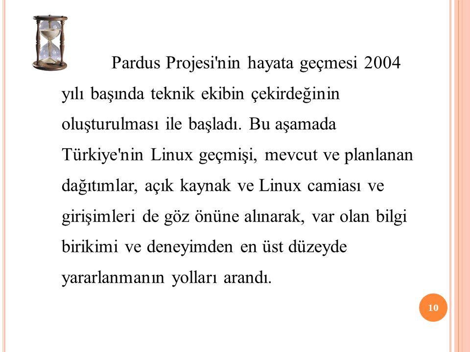Pardus Projesi'nin hayata geçmesi 2004 yılı başında teknik ekibin çekirdeğinin oluşturulması ile başladı. Bu aşamada Türkiye'nin Linux geçmişi, mevcut