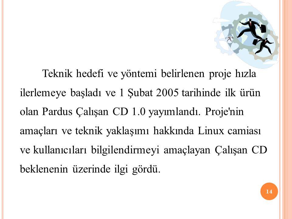 Teknik hedefi ve yöntemi belirlenen proje hızla ilerlemeye başladı ve 1 Şubat 2005 tarihinde ilk ürün olan Pardus Çalışan CD 1.0 yayımlandı. Proje'nin