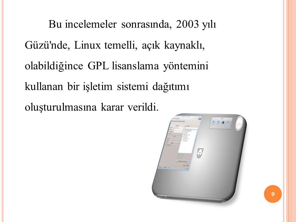 Bu incelemeler sonrasında, 2003 yılı Güzü'nde, Linux temelli, açık kaynaklı, olabildiğince GPL lisanslama yöntemini kullanan bir işletim sistemi dağıt