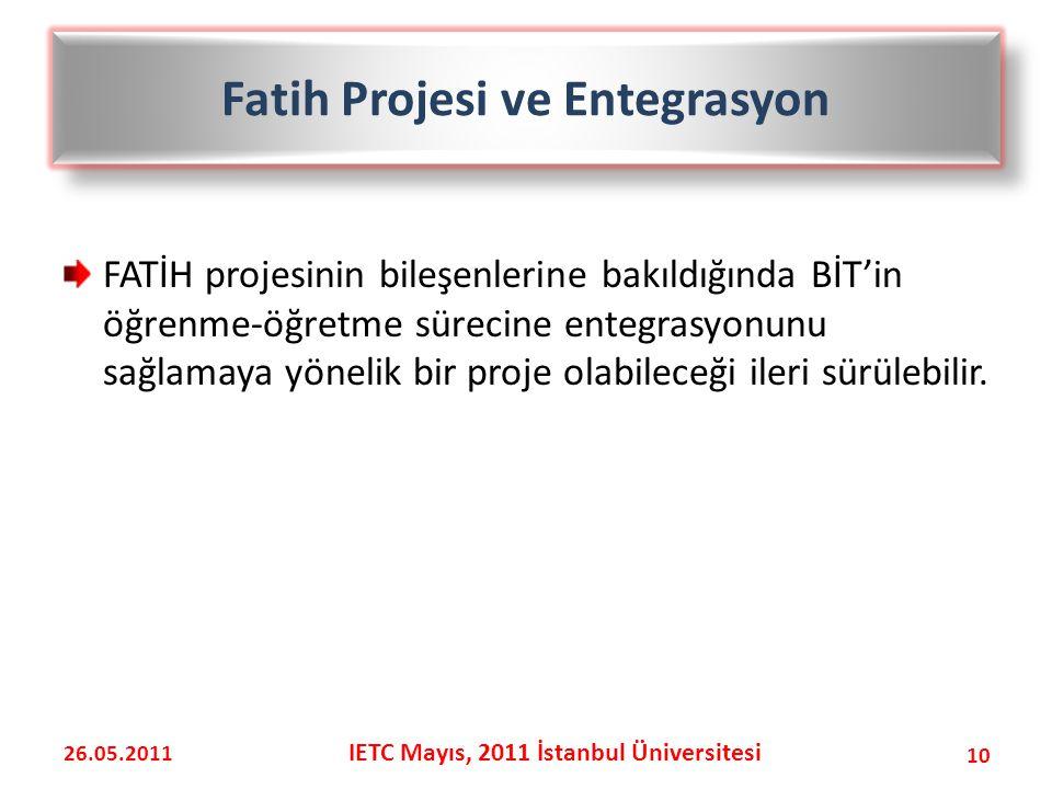 FATİH projesinin bileşenlerine bakıldığında BİT'in öğrenme-öğretme sürecine entegrasyonunu sağlamaya yönelik bir proje olabileceği ileri sürülebilir.