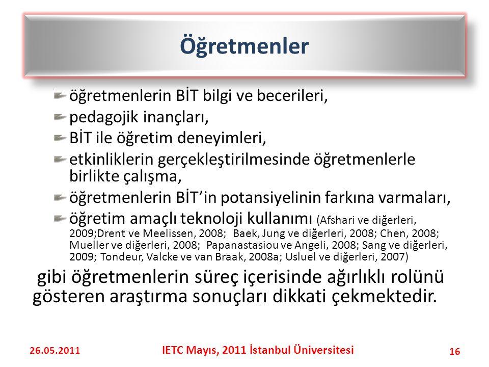 öğretmenlerin BİT bilgi ve becerileri, pedagojik inançları, BİT ile öğretim deneyimleri, etkinliklerin gerçekleştirilmesinde öğretmenlerle birlikte çalışma, öğretmenlerin BİT'in potansiyelinin farkına varmaları, öğretim amaçlı teknoloji kullanımı (Afshari ve diğerleri, 2009;Drent ve Meelissen, 2008; Baek, Jung ve diğerleri, 2008; Chen, 2008; Mueller ve diğerleri, 2008; Papanastasiou ve Angeli, 2008; Sang ve diğerleri, 2009; Tondeur, Valcke ve van Braak, 2008a; Usluel ve diğerleri, 2007) gibi öğretmenlerin süreç içerisinde ağırlıklı rolünü gösteren araştırma sonuçları dikkati çekmektedir.