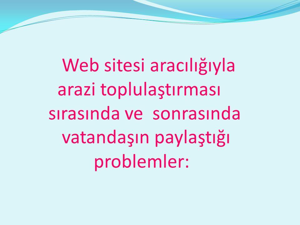 Web sitesi aracılığıyla arazi toplulaştırması sırasında ve sonrasında vatandaşın paylaştığı problemler: