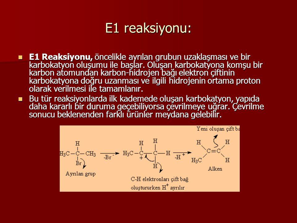 Zaitsev ve hoffman ürünleri Ayrilma tepkimelerinde eger karbokatyon olusumu gerceklesiyor veya bazin herhangi bir sterik (buyukluk) acidan sorunu yoksa, en kararli alkenin olusacagi (termodinamik urun) sekilde proton kopmasi gerceklesir.
