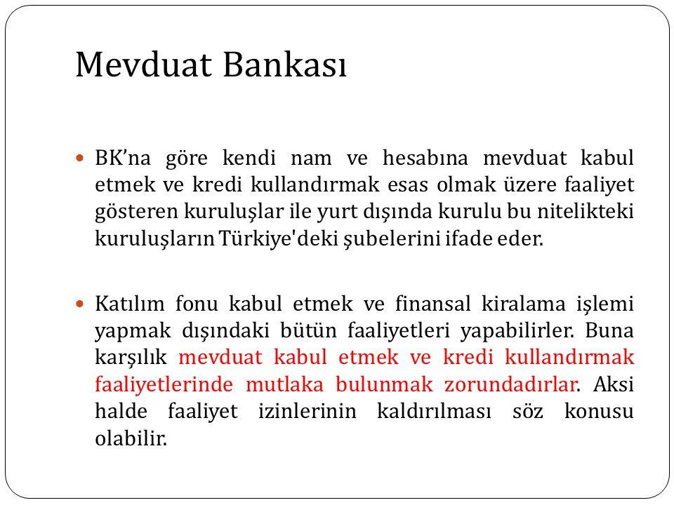 Mevduat Bankası BK'na göre kendi nam ve hesabına mevduat kabul etmek ve kredi kullandırmak esas olmak üzere faaliyet gösteren kuruluşlar ile yurt dışında kurulu bu nitelikteki kuruluşların Türkiye deki şubelerini ifade eder.