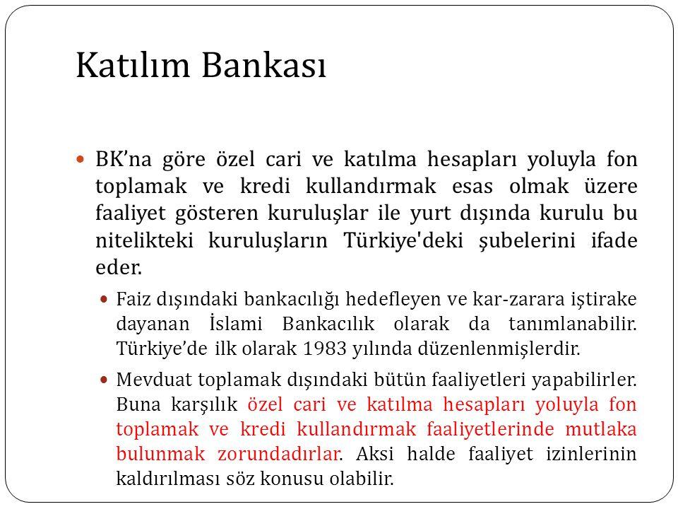 Katılım Bankası BK'na göre özel cari ve katılma hesapları yoluyla fon toplamak ve kredi kullandırmak esas olmak üzere faaliyet gösteren kuruluşlar ile yurt dışında kurulu bu nitelikteki kuruluşların Türkiye deki şubelerini ifade eder.