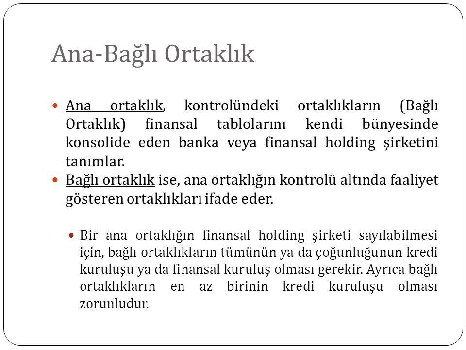 Ana-Bağlı Ortaklık Ana ortaklık, kontrolündeki ortaklıkların (Bağlı Ortaklık) finansal tablolarını kendi bünyesinde konsolide eden banka veya finansal holding şirketini tanımlar.